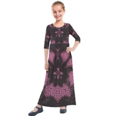 Glitch Glitch Art Grunge Distortion Kids  Quarter Sleeve Maxi Dress by Nexatart