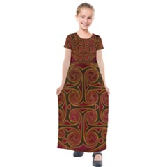 Beautiful Art Pattern Kids  Short Sleeve Maxi Dress by Nexatart