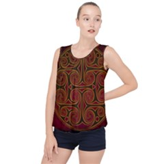 Beautiful Art Pattern Bubble Hem Chiffon Tank Top