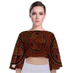 Beautiful Art Pattern Tie Back Butterfly Sleeve Chiffon Top