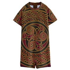 Beautiful Art Pattern Kids  Boyleg Half Suit Swimwear