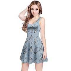 Skeleton Blue Background Reversible Sleeveless Dress