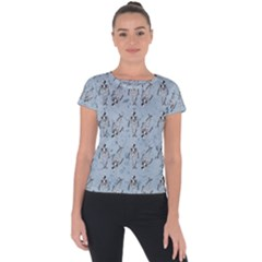 Skeleton Blue Background Short Sleeve Sports Top