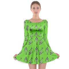 Skeleton Green Long Sleeve Skater Dress