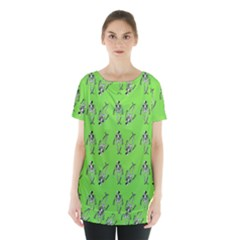 Skeleton Green Skirt Hem Sports Top