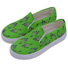 Skeleton Green Kids  Canvas Slip Ons by snowwhitegirl