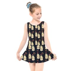 Victorian Skeleton Black Kids  Skater Dress Swimsuit