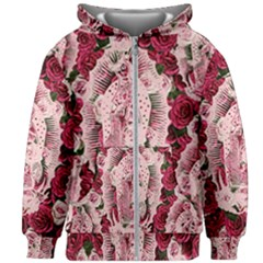 Guadalupe Roses Kids Zipper Hoodie Without Drawstring