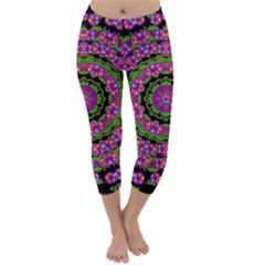 Flowers And More Floral Dancing A Power Peace Dance Capri Winter Leggings  by pepitasart