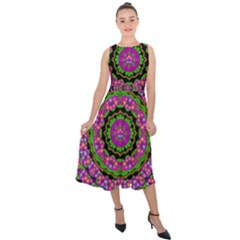 Flowers And More Floral Dancing A Power Peace Dance Midi Tie Back Chiffon Dress