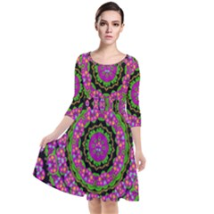 Flowers And More Floral Dancing A Power Peace Dance Quarter Sleeve Waist Band Dress