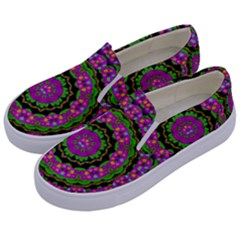 Flowers And More Floral Dancing A Power Peace Dance Kids  Canvas Slip Ons by pepitasart