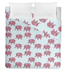Pink Flower Elephant Duvet Cover Double Side (queen Size) by snowwhitegirl