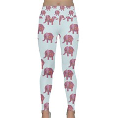 Pink Flower Elephant Lightweight Velour Classic Yoga Leggings