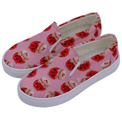 Kawaii Jam Jar Pattern Pink Kids  Canvas Slip Ons by snowwhitegirl