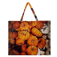Pile Of Tiny Pumpkins Zipper Large Tote Bag by bloomingvinedesign