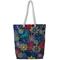 Tropical Daisies Full Print Rope Handle Tote (small)