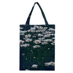 White Daisy Field Classic Tote Bag by bloomingvinedesign