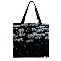 White Daisy Field Zipper Grocery Tote Bag by bloomingvinedesign