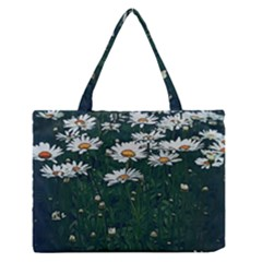 White Daisy Field Zipper Medium Tote Bag by bloomingvinedesign