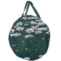 White Daisy Field Giant Round Zipper Tote by bloomingvinedesign