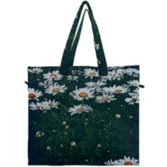 White Daisy Field Canvas Travel Bag by bloomingvinedesign