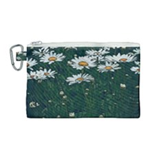 White Daisy Field Canvas Cosmetic Bag (medium) by bloomingvinedesign