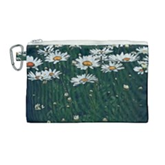 White Daisy Field Canvas Cosmetic Bag (large) by bloomingvinedesign