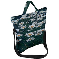 White Daisy Field Fold Over Handle Tote Bag by bloomingvinedesign