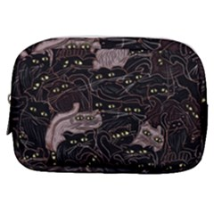 Cats On Black Seamless Pattern Art Print Clothing Make Up Pouch (small) by bloomingvinedesign