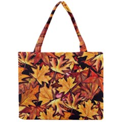 Fall Leaves Pattern Mini Tote Bag by bloomingvinedesign