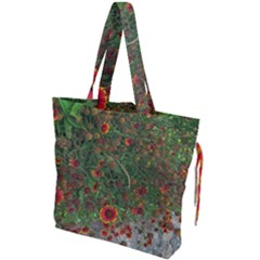 Orange Flower Garden Drawstring Tote Bag by bloomingvinedesign