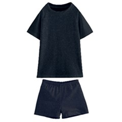 Black Glitter Kids  Swim Tee And Shorts Set