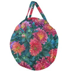 Warm Fall Mums Giant Round Zipper Tote
