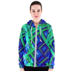 Green Blue Squares Fractal Women s Zipper Hoodie by bloomingvinedesign