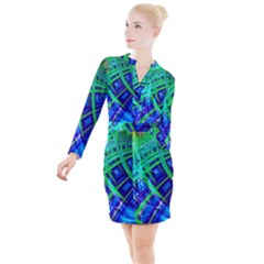 Green Blue Squares Fractal Button Long Sleeve Dress by bloomingvinedesign