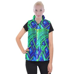 Green Blue Squares Fractal Women s Button Up Vest by bloomingvinedesign