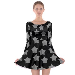 Silver Starr Black Long Sleeve Skater Dress