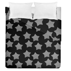 Silver Starr Black Duvet Cover Double Side (queen Size) by snowwhitegirl