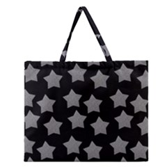 Silver Starr Black Zipper Large Tote Bag
