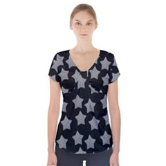 Silver Starr Black Short Sleeve Front Detail Top