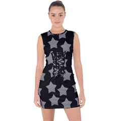 Silver Starr Black Lace Up Front Bodycon Dress