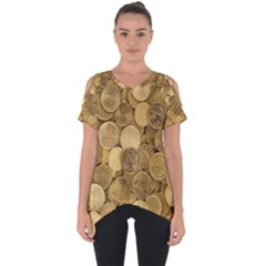 Gold Coins Cut Out Side Drop Tee by quinncafe82