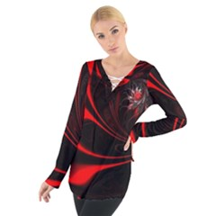 Red Black Abstract Curve Dark Flame Pattern Tie Up Tee