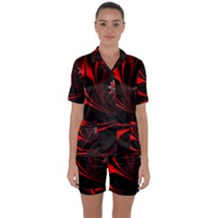 Red Black Abstract Curve Dark Flame Pattern Satin Short Sleeve Pyjamas Set