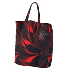 Red Black Abstract Curve Dark Flame Pattern Giant Grocery Tote