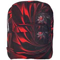 Red Black Abstract Curve Dark Flame Pattern Full Print Backpack