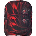 Red Black Abstract Curve Dark Flame Pattern Full Print Backpack View1