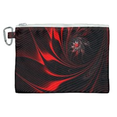 Red Black Abstract Curve Dark Flame Pattern Canvas Cosmetic Bag (xl) by Nexatart