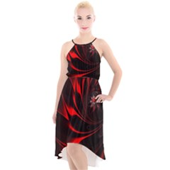 Red Black Abstract Curve Dark Flame Pattern High Low Halter Chiffon Dress